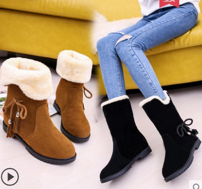2018 Autumn Winter Women Boots Mid-Calf Boots Brand Fashion Stretch Cotton Fabric Slip-on Boots Flat Shoes Woman image