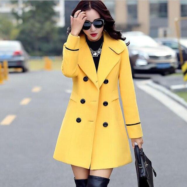 49f8856a921 Осенне-зимнее 2018 Новое модное женское желтое красное оранжевое шерстяное  пальто двубортное пальто элегантное облегающее