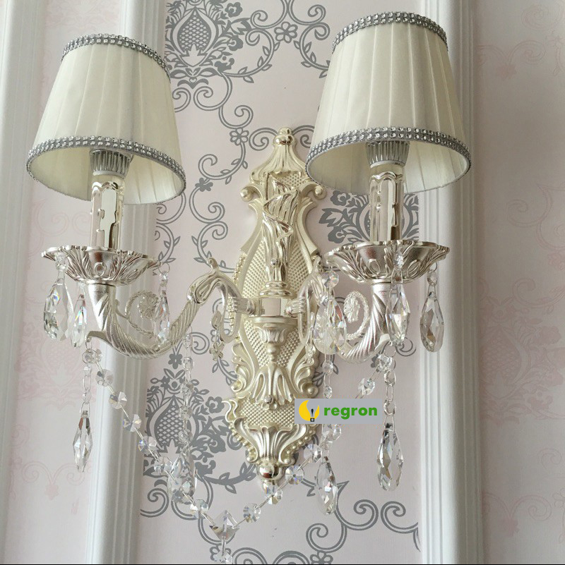 European Candle Crystal Wall Lamp Living Room Dining Room Silver Double Head Sconce Wall Lights Warm antique Led Wall Light garden single head headlight hotel dining room club art glass decorative corridor wall lamp european bird beauty wall lamp