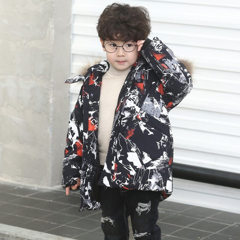 HSSCZL Children's Camouflage Down Jacket Boy&Girls Down Coat 2018 Brand Winter Thicken Outerwear Overcoat Detachable cap Clothes detachable furry hood thicken zip up down coat