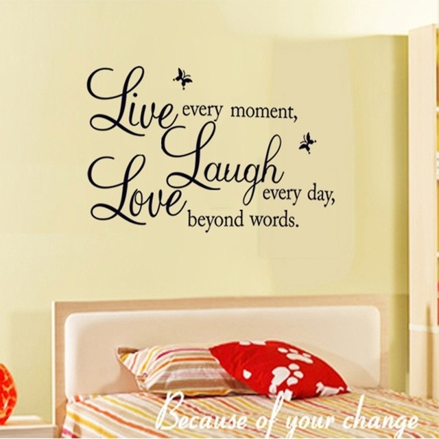1 Pc Letter Characters Wall Stickers Live Laugh Love Wall Quote ...