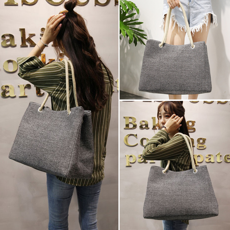 Fashion Women Linen Handbag Large Shopping Tote Holiday Big Basket Bags Summer Beach Bag Woven Beach Shoulder Bag JXY550 1