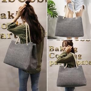 Image 2 - Fashion Women Linen Handbag Large Shopping Tote Holiday Big Basket Bags Summer Beach Bag Woven Beach Shoulder Bag JXY550