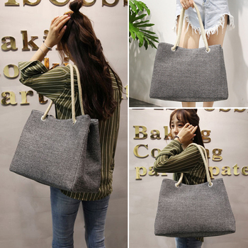 Fashion Women Linen Handbag Large Shopping Tote Holiday Big Basket Bags Summer Beach Bag Woven Beach Shoulder Bag JXY550 1