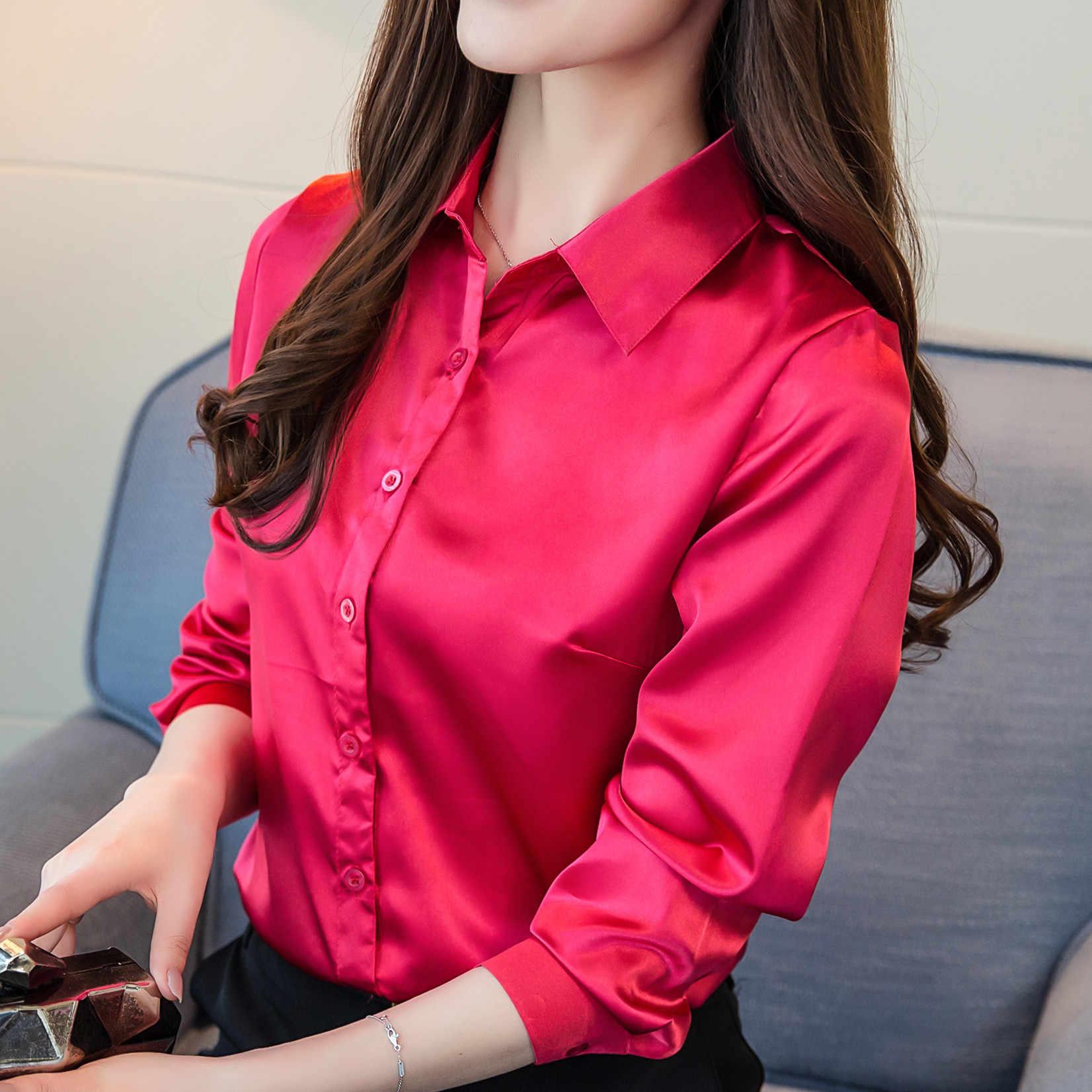 5a5876067e0 ... 2018 Весенняя блуза стрейч атласа имитация шелка Для женщин Топы  корректирующие и Блузки для малышек рубашка ...