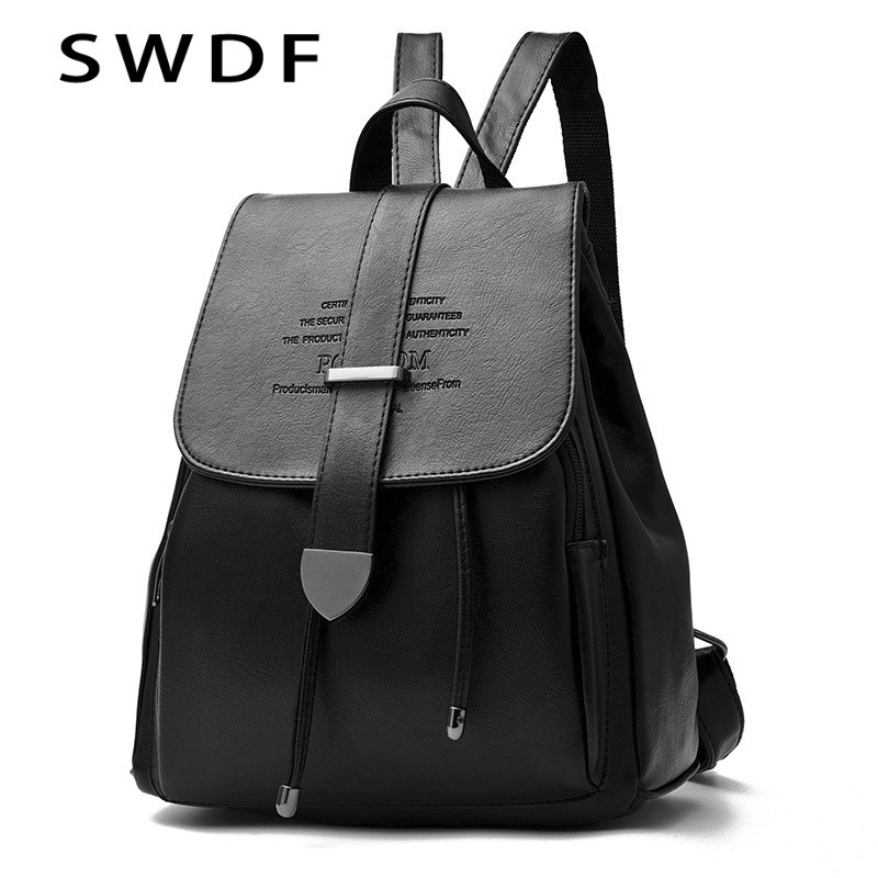 SWDF High Quality Soft PU Leather New Women's Backpacks Anti-thief Travel Bags Fashion FemaleSchool Ladies Preppy Girl Backpack swdf 2017 new korean style women s backpacks for female high quality pu leather backpacks ladies rivet bags 7 colors optional