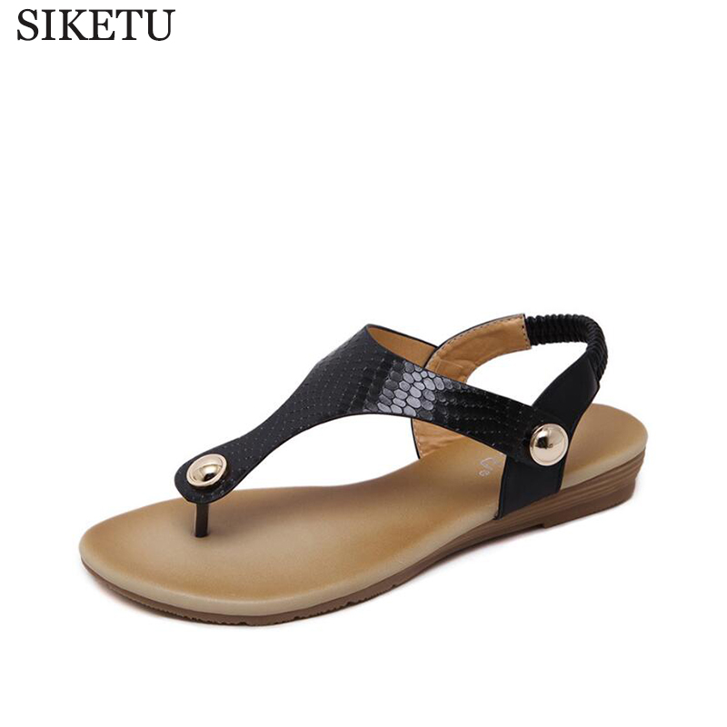 SIKETU 2017 new summer shoes female sandals metal buckle toe flat shoes shoes large size shoes flip flops Women's sandals k34 siketu 2017 new summer beach slipper flip flops sandals women mixed color casual sandals shoes flat free shipping plus size