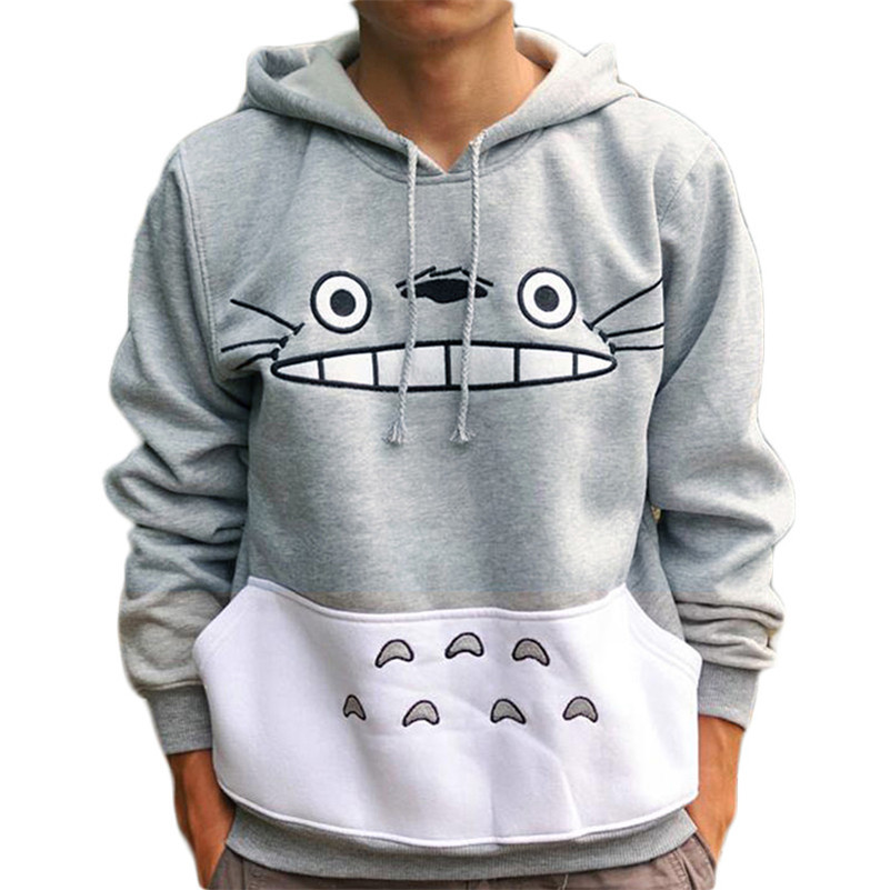 Factory Sale Cartoon Totoro Women Man Couple Hoodies Sweatshirts Kawaii Harajuku Cute Unisex Pullover Tops Korean Japanese Anime