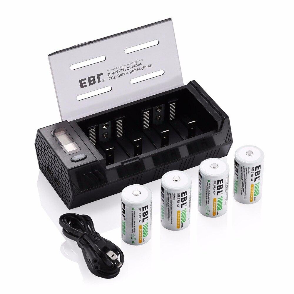 EBL 4 pièces taille D R20 10000 mAh Batteries rechargeables + chargeur de batterie pour AA AAA C D 9 V Ni-MH ni-cd batterie avec double Ports USB
