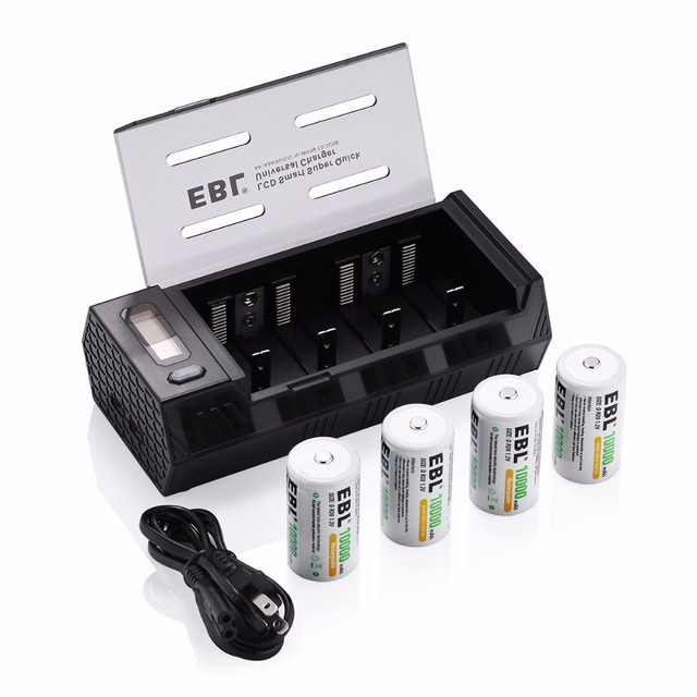 4pcs EBL Size D R20 10000mAh Battery + Battery Charger for AA AAA C D 9V Ni-MH Ni-CD Battery Rechargeable with Dual USB Port
