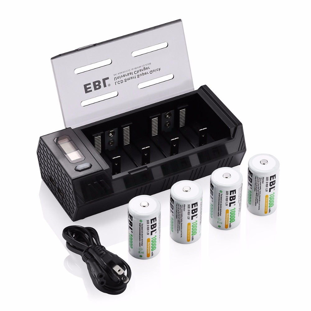 ebl 4pcs size d r20 10000mah rechargeable batteries battery charger for aa aaa c d 9v ni mh ni. Black Bedroom Furniture Sets. Home Design Ideas