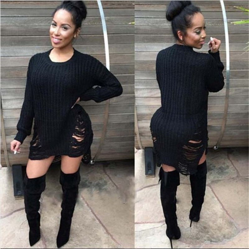 US $35.34 |Mavodovama Autumn Long Sleeve Casual Knitted Sweater Dress Women  Nice Long Sweaters Pullover Plus Size With Pockets Vestidos-in Dresses ...