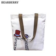Bearberry 2017 new printed aminals canvas shoulder bags large size beach bags for girls book bags shopping bags women mn629