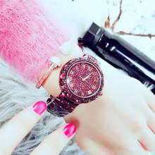 Womens Quartz Waterproof Tide Watch Fashion Luxury Full Rhinestone Large Dial Steel Belt Meter