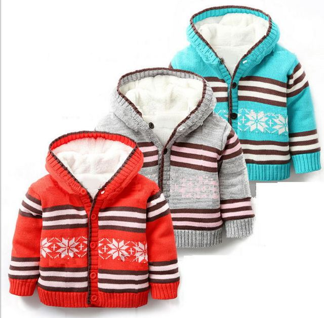 New 2016 Baby Boys girls winter coat children sweatercoat Hooded Baby warm thick cardigans baby outerwear children coat J0238