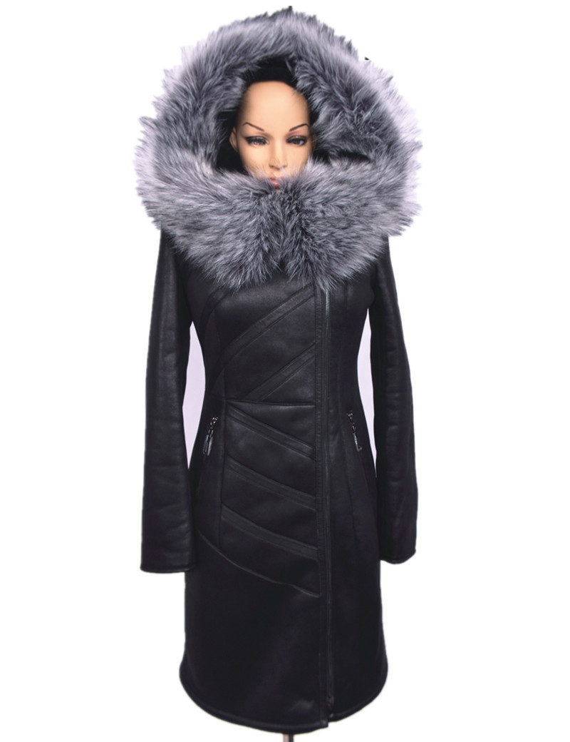 93a4c1d3dba4 2016 Winter Suede Coats With Silver Fox Fur Collar Warm .