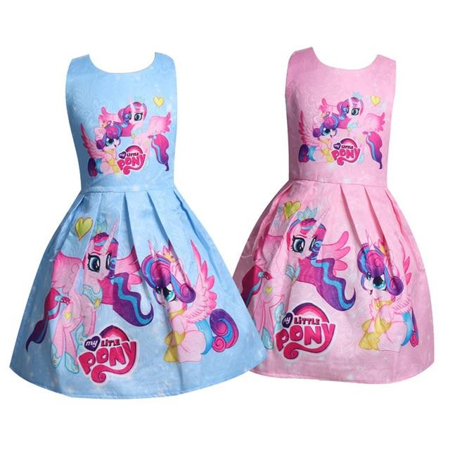 New Little Pony Birthday Dress For Girl Kids Clothes Halloween Princess Celestia Rainbow