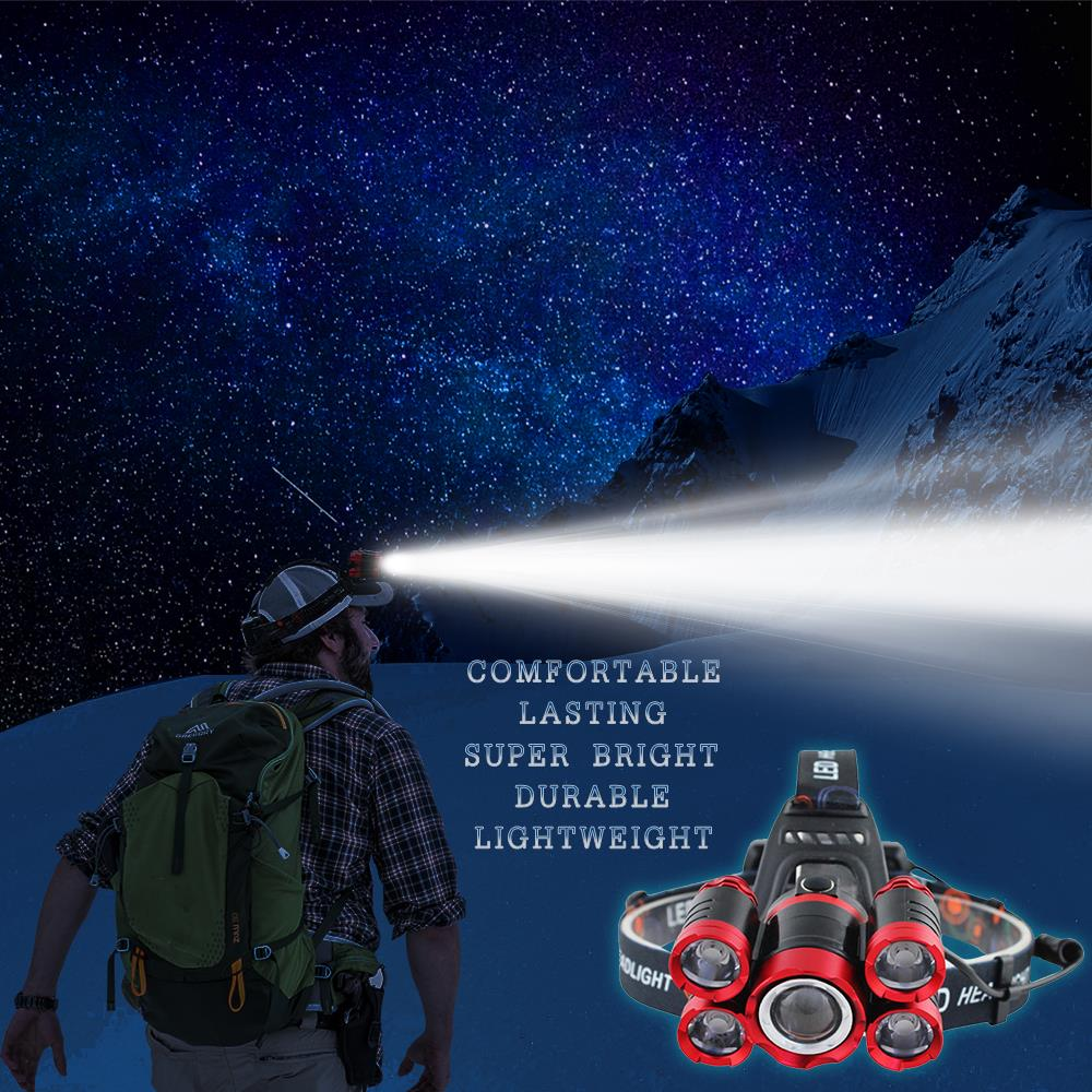 Купить с кэшбэком 4000Lums Ultra Bright LED Headlamp 5*T6 LED Headlight 4 mode Zoom Head lamp Rechargeable Forehead Light Use 2*18650 Battery