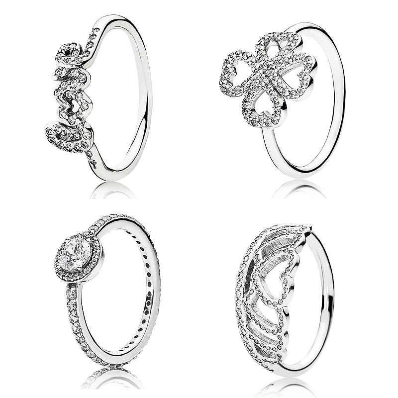 ab2f778b0 New 925 Sterling Silver Ring Elegance Heart Clover Silver Hearts Tiara Rings  For Women Wedding Party