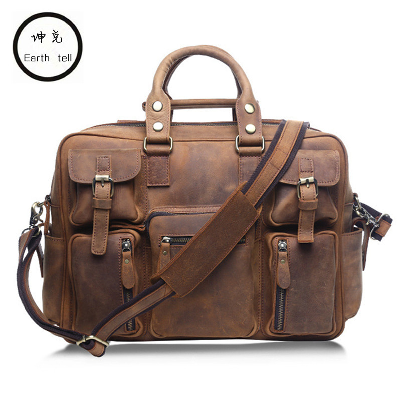 Earth tell Men Crazy Horse Genuine Leather Man Travel Bag Big Luggage Cowhide Vintage Handmade Large Tote Computer Shoulder Bags crazy horse leather men travel bags luggage cowhide tote handbag genuine leather duffle bag male vintage luggage
