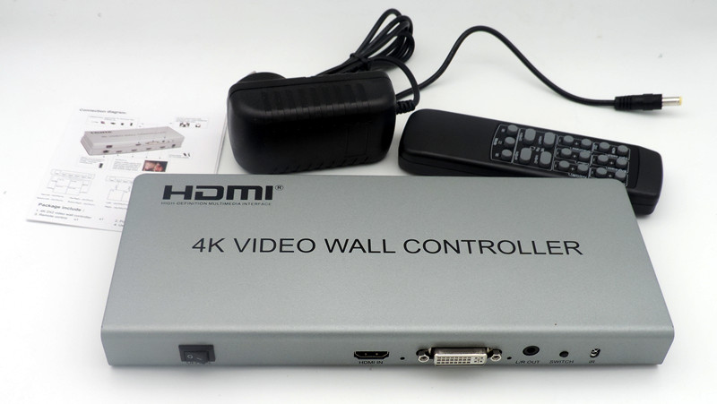 New 2x2 4K HDMI DVI Video Wall Controller LCD TV Wall Processor 4-HDMI+Audio LR Output Connector Fo