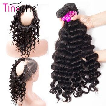 Mèches Lace Frontal wig 360 péruviennes Remy avec Closure-Tinashe Hair, Loose Deep Wave, avec Closure, en lot de 2 3