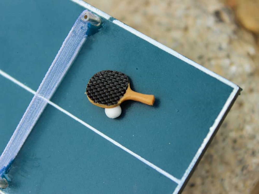 1:12 Doll House Simulation Model Mini Table Tennis Mini Type Racket S7U4