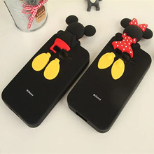 3D Cartoon Mickey Minnie Mouse Soft Silicone Black Color Cover Case for Samsung Galaxy Grand 2 G7106 G7108 G7109 Fundas Coque