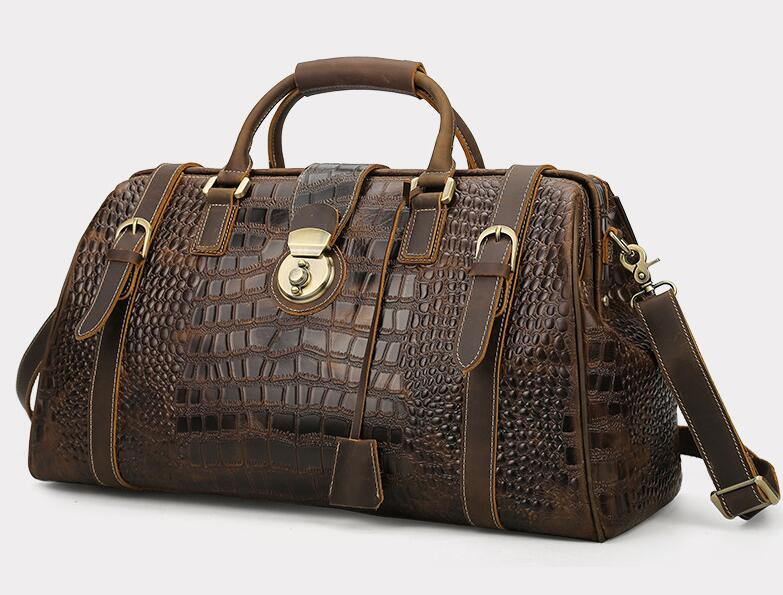 crocodile leather casual large travel duffle with lock for men high quality
