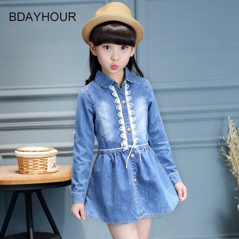ФОТО Single - Breasted Long - Sleeved Lapel Double - Pockets Dannin Cloth Casual Girl Denim Dress 2017 Spring Lace Girl Dresses