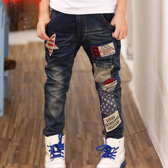 Korean children boys autumn spring clothing  2016 new children  pants Five-pointed star labeling jeans trouser hot sale