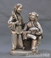 Crafts statue old chinese folk silver Wo Hop two Immortals God of love gods buddha statue halloween