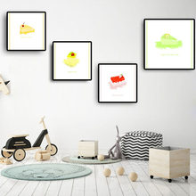 Watercolor Cake Posters and Prints Wall Art Scandinavian Nursery Baby Kids Room Nordic Wall Pictures for Kitchen Home Decoration(China)