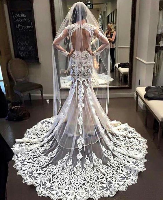 2019 Delicate French Lace Applique Long Sleeve Wedding Dress Sexy Backless Zuhair Murad Long Princess Bridal Gown Dresses