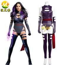 X-Men Apocalypse Psylocke Elizabeth Braddock Womens Fancy Dress Cosplay Costume Sexy Purple Jumpsuit Free Shipping