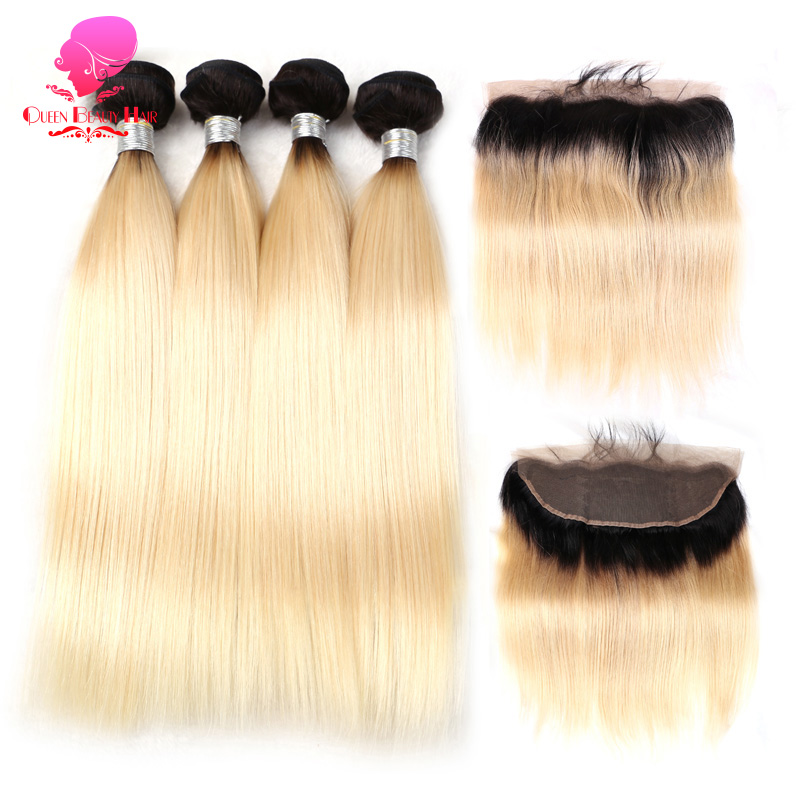 QUEEN BEAUTY 1B 613 Blonde Ombre Bundles with Closure Frontal Brazilian Straight Remy Human Hair 4