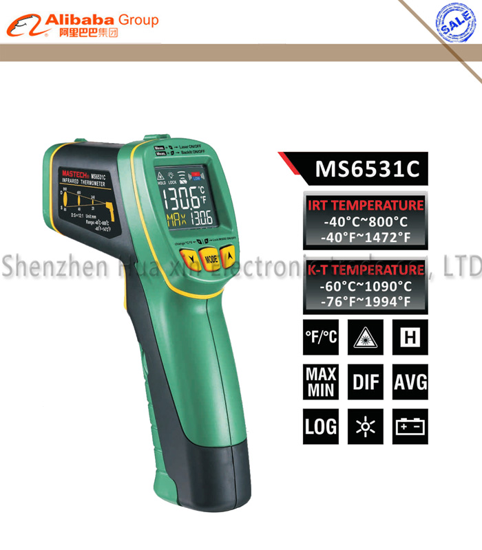 MASTECH MS6531C Handheld Non-contact Infrared Thermometer Point Temperature Gun with K-type Thermocouple Test/Data Logging