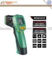 mastech MS6531C כף יד מדחום אינפרא אדום ללא מגע אקדח עם k-סוג צמד תרמי בדיקה טמפרטורת נקודת / רישום נתונים