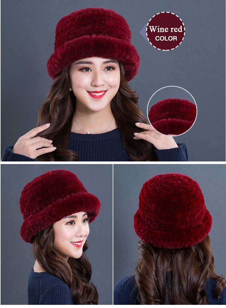 Luxury Natural Fur hats Fur Bucket Hat Russian Real Rex Rabbit Fur Hat Female Solid Women\`s Winter Cap Ladies (21)