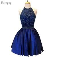 Потрясающие королевские синие Выпускные платья 8 класса Сладкие 16 выпускные бисерные короткое платье на выпускной 2019