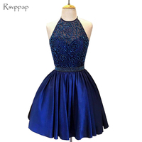 Stunning Royal Blue 8th Grade Prom Dresses Sweet 16 Graduation Beaded Short Homecoming Dress 2018