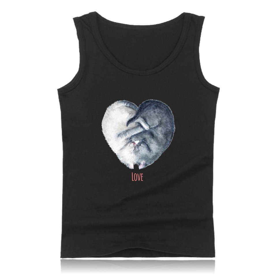 Love Tank Tops Simple Style summer basic printed in Love couples T-shirts high quality o-neck cotton men's T-shirts