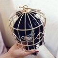 Fantasía Forma Birdcage Del Metal Marco Señoras Monedero con Bolsa De Raso Bolsos de Embrague Cubo Bordado Jaula Del Pájaro Mini Bolsos Bolsos Lindos