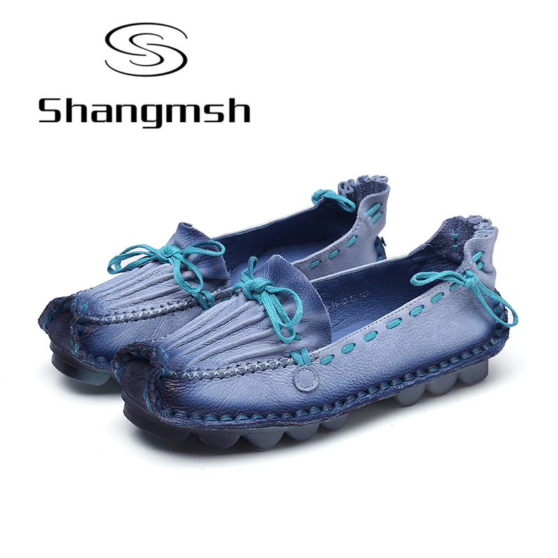 Shangmsh Sweet Women's Flat Shoes Cow Muscle Soft Driving Loafers Handmade Genuine Leather Slip On Female Shoes Moccasin Women