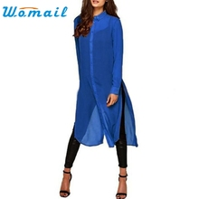 CharmDemon Women Long Sleeve Chiffon Plus Size Shirt Dress Top Blouse at11