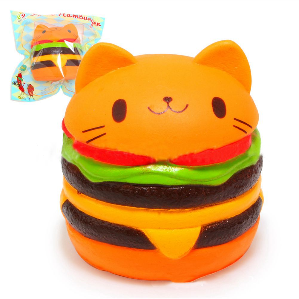 LCLL-Squishy Cat Hamburger Food Squishys Cake Stress Relief toys Scented Squeeze Slow Rising Fun Toy Relieve Stress Cure Gift