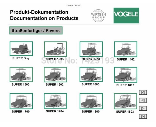 Vogele electronic spare parts catalog service manual wiring diagrams - operation manual