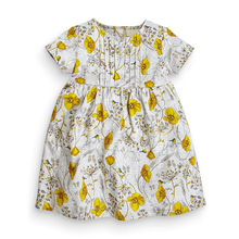 Little Maven New Summer Kids Lovely Short Gray Yellow Floral Printed O-neck Knitted Cotton Girls 1-6yrs Casual Dresses