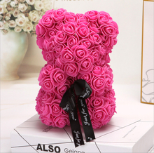 25cm Bear of Roses Valentines Day Gift Artificial Flowers Home Wedding Festival DIY Wedding Decoration Gift Box Wreath Crafts