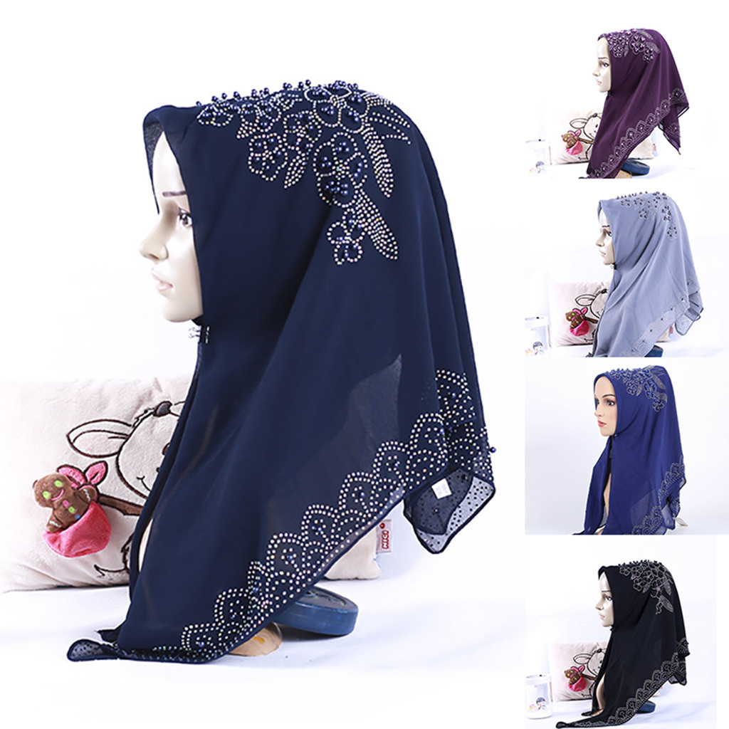 Chiffon muslim hats women Shimmer Sparkle Gold Glitters Plain Muslim Hijab Women's Scarf